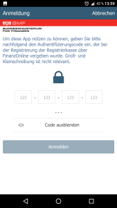 Authentifizierungscode eingeben