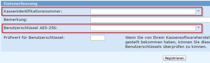 Registrierkassenformular