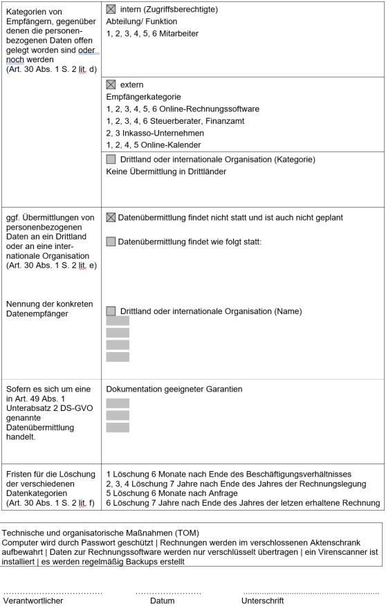 Muster Verarbeitungsverzeichnis Tätigkeit Löschfristen