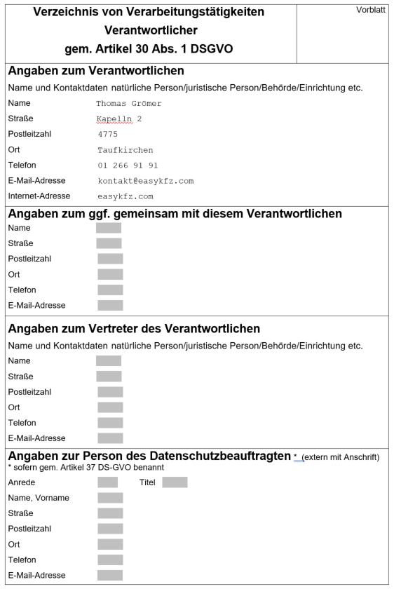 Verarbeitungsverzeichnis Vorblatt
