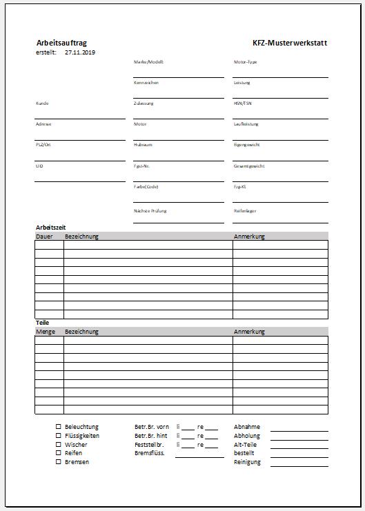 Formular Arbeitsauftrag Auftragsformulare Mit Durchschlag 15