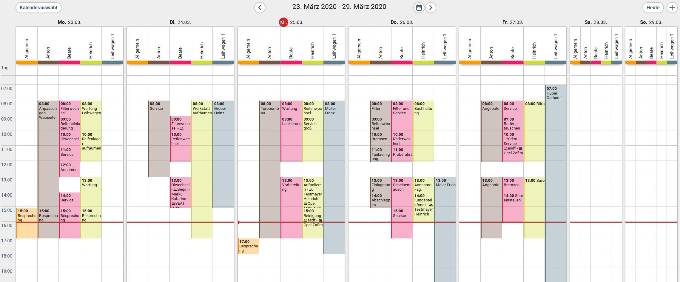 Wochenansicht Werkstattkalender